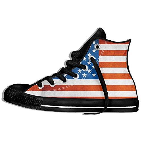 Classiche Sneakers Alte Scarpe Di Tela Antiscivolo Bandiere Americane Casual Da Passeggio Per Uomo Donna Nero