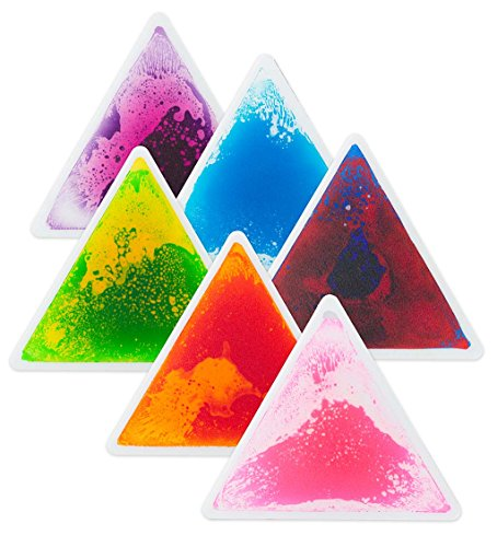 Set of 6 Captivating Color Liquid Tile Triangles, Cushioned Floor Playmat for Kids Bedroom - Each Approx 20'' (Tile Liquid)