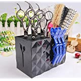 JM-capricorns Professional Salon Scissors Holder Rack, Modern Hairdressing Combs Clips Desktop Desk Organizer Accessories for Hair Stylist Office Home,Hairdresser Scissor Storage Case Keeper. - Black