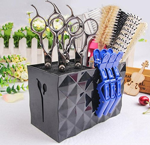 JM-capricorns Professional Salon Scissors Holder Rack, Modern Hairdressing Combs Clips Desktop Desk Organizer Accessories for Hair Stylist Office Home,Hairdresser Scissor Storage Case Keeper. - (Salon Accessories)