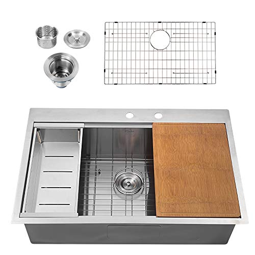 Sarlai Stainless Steel Kitchen Sink 33 Inch Drop-in Topmount 16 Gauge R10 Tight Radius Single Bowl Sink