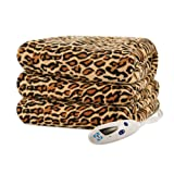zebra heated blanket - Biddeford 4441-907484-791 Electric Heated Comfort Knit Throw, 50-Inch by 62-Inch, Cheetah Print