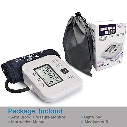 Brazo Monitor de presión sanguínea, dikaou totalmente automáticamente medir con pantalla de pantalla LCD Digital portátil caso para la presión arterial y ...