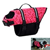 Egmy Pet Life Jacket Pet Products Outward Adjustable Doggy Life Vest with Rescue Handle (L, Hot Pink)