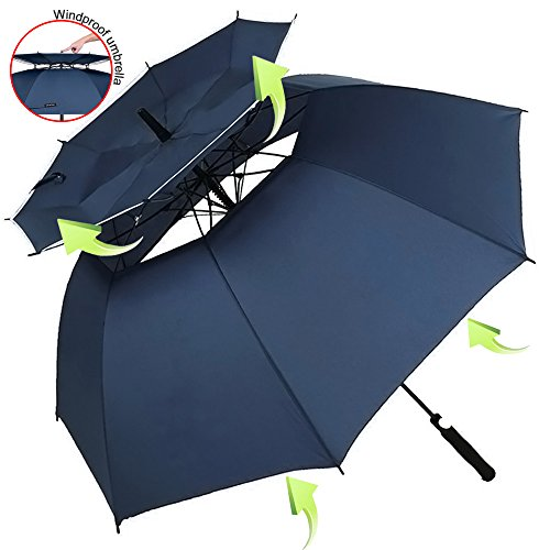 ZOMAKE Vented Sun Umbrella - Golf Umbrella Windproof Large 62 inch Double Canopy Automatic Open Umbrella for Men - Stick Umbrellas by