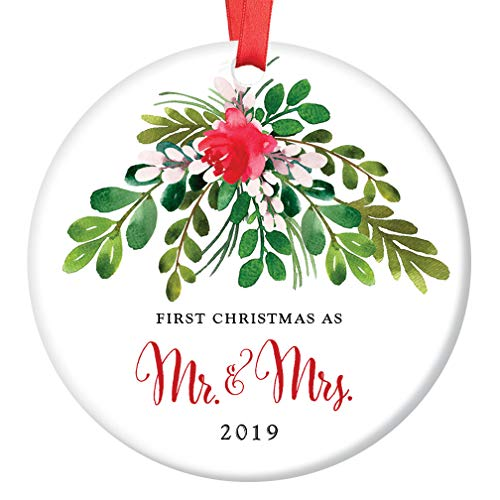 """Mr & Mrs First Christmas 2019 Ornament Newlyweds Pretty Seasonal Ceramic Keepsake Decoration 1st Holiday Married Bride & Groom Gift 3"""" Flat Porcelain Collectible w Red Ribbon & Free Gift Box OR00044"""