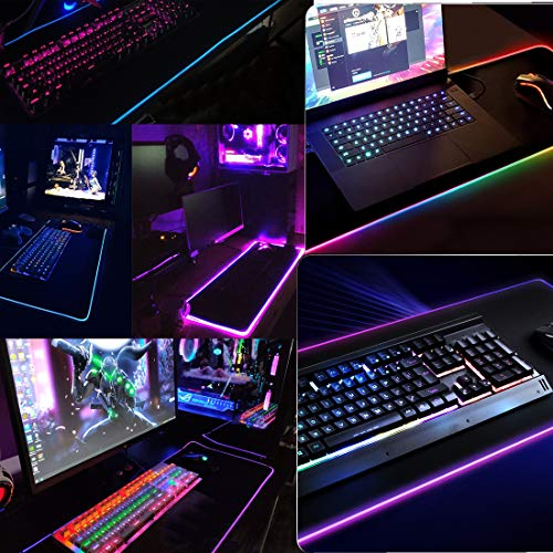 for Gamer Extended Mousepad with a Extra USB Port,Non-Slip Rubber Base Computer Keyboard Pad Mat Office Working RGB Gaming Mouse Pad Large Esports Pros
