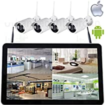 "USG 2MP 1080P Wireless 4 Camera HD Security System with 12.5"" LCD : 1x 2MP 4 Channel Wireless Security NVR + 4x 3.6mm IP Bullet Cameras : Plug & Play : Apple Android Phone App"