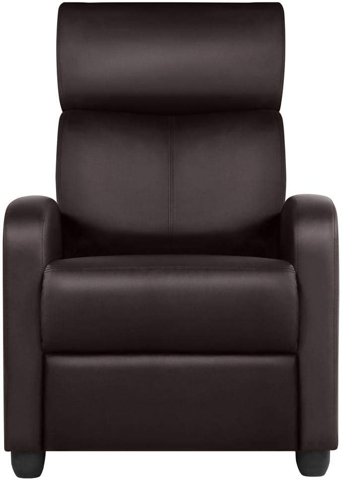 Topeakmart PU Leather Recliner Chair Living Room Single Sofa Home Theater Seating with Lumbar Support Overstuffed High-Density Sponge Manual Push Back Recliners Brown