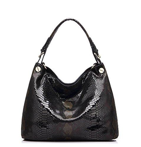 Python Leather Shoulder Handbag - CLELO Genuine Leather Handbag for Women Python Embossed Shoulder Bag Soft