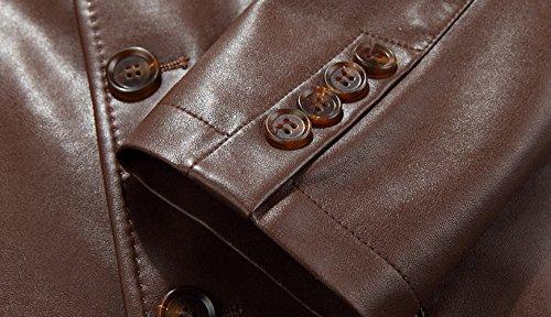 ffb9cc3033 Insun Men s Notch Lapel 3 Button Slim Fit Blazer Faux Leather Jacket 50%OFF