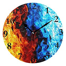 Dozili Red and Blue Flames Round Wall Clock Arabic Numerals Design Non Ticking Wall Clock Large for Bedrooms,Living Room,Bathroom
