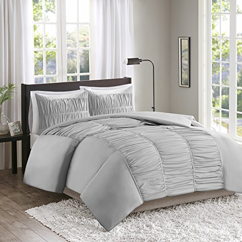 Comfort Spaces – Montana Duvet Cover Mini Set - 3 Piece – Gray – Ruched Pattern – Full / Queen size, includes 1 Duvet Cover, 2 (Montana Queen Sheet Set)