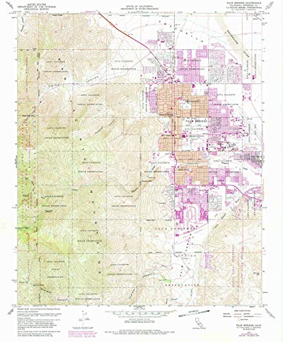 YellowMaps Palm Springs CA topo map, 1:24000 Scale, 7.5 X 7.5 Minute, Historical, 1957, Updated 1988, 26.7 x 22 in - ()
