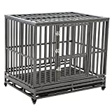 LUCKUP 42 Inch Heavy Duty Dog Cage Strong Metal Kennel and Crate for Large Dogs,Easy To Assemble Pet Playpen with Four Wheels,Black