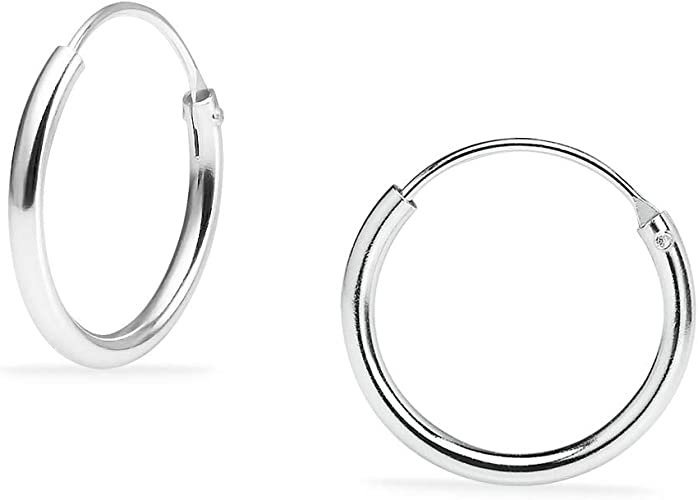 Silver Tiny Continuous Hoop Earrings Sterling Silver 925 Jewelry 1.2 mm x 25 mm