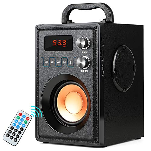 TAMPROAD Portable Wireless Bluetooth Speaker 20W Subwoofer Heavy Bass Wireless Stereo Outdoor/Indoor Speakers Support Remote Control FM Radio TF Card LCD Display for Home Party Smartphone Computer -