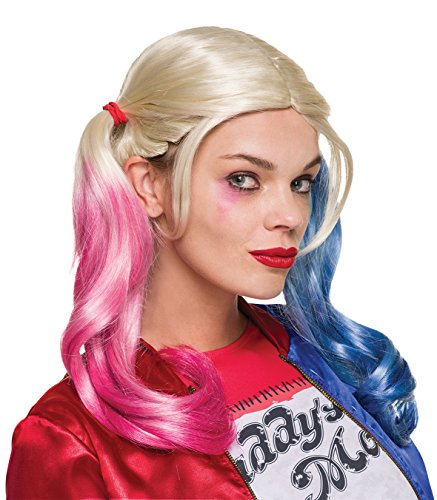 Quinn Costumes Full Harley (Rubie's Costume Co. Women's Suicide Squad Harley Quinn Value Wig, As Shown, One)