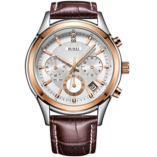 BUREI Mens Business Casual Elegant Chronograph Sports Watch with Genuine Leather/Stainless Steel Band -