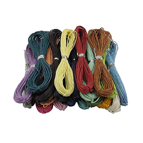 Inspirelle 20-Color 1.0mm Jewelry Making Beading Crafting Macram Waxed Cotton Cord Thread, 10 Yards Each Color
