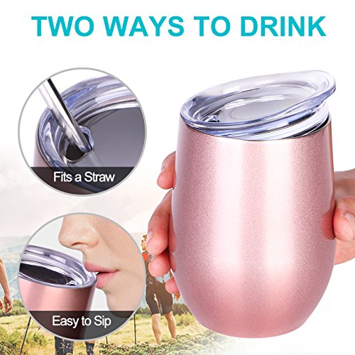 NEWBEA 12 oz Wine Tumbler with Lid, Double Wall Vacuum Insulated Stemless Glass,Stainless Steel Wine Cup Perfect for Wine,Coffee,Drinks,Champagne,Cocktails by NEWBEA (Image #6)