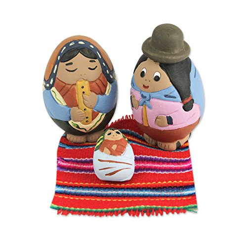 NOVICA 'Holy Birth in Puno' (Set of 3) Ceramic Nativity Scene