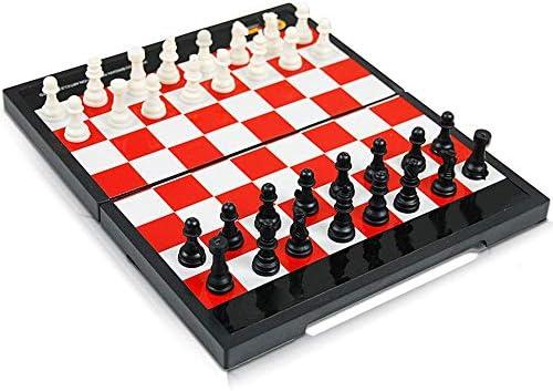 Juego de Mesa de Viaje PVC magnético Juego de ajedrez del tablero de ajedrez plegable de plástico portátiles for niños de juego Juguetes para niños y adultos (Color : Red+White ,