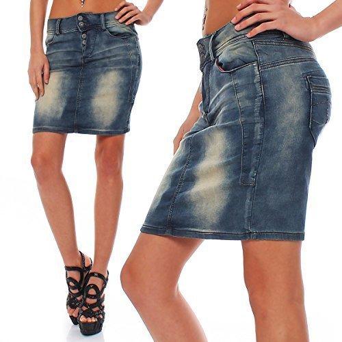m.o.d.–Mujer Rock Mujer Rock Jeans Rock Minifalda Mandy knitted blue denim Small
