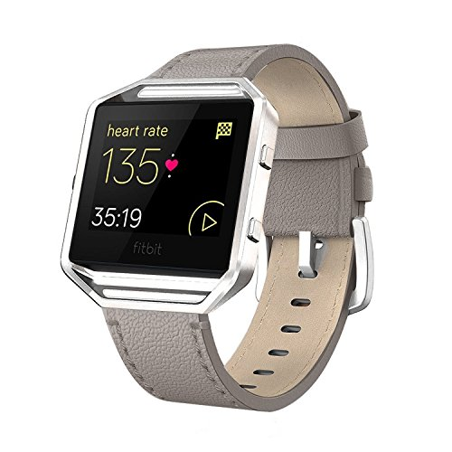 Fitbit Blaze Bands Leather with Frame Small & Large (5- 7.1), AndyouGenuine Leather Replacement Band with Silver/Rose Gold/Black Metal Frame for Fitbit Blaze Women , Gray Small
