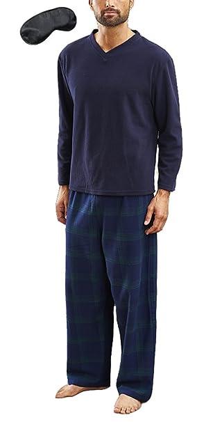 design di qualità 49a42 9f3b5 I-Smalls - Pigiama in pile, da uomo, caldo per l'inverno, con pantaloni a  quadri