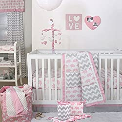 Pink Elephant and Grey Chevron Patchwork 5 Piece Crib Bedding Set for girls - The Peanut Shell