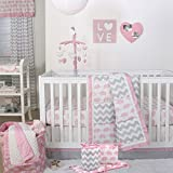 Pink Elephant and Grey Chevron Patchwork 5 Piece Crib Bedding Set - Peanut Shell