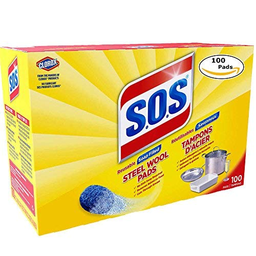 (S.O.S 98014 Steel Wool Soap Pad, 100 Count (1 pk (100 Pads)))