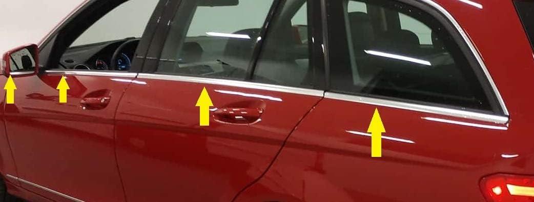Mercedes C-Klasse S204 T-Modell 8 St/ück Chrom Fenster Verkleidung Abdeckung Edelstahl