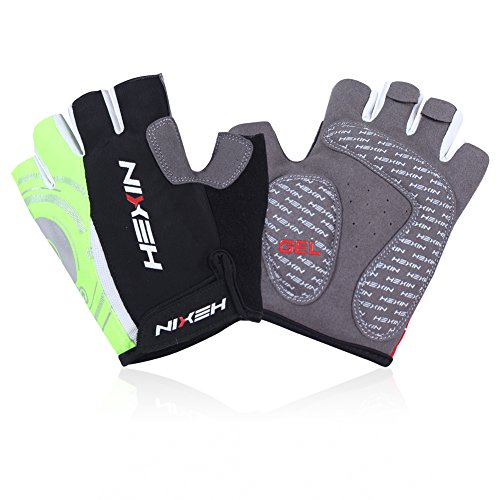 HEXIN Cycling Gloves Mountain Bike Gloves Road Racing Bicycle Gloves Half finger-Green