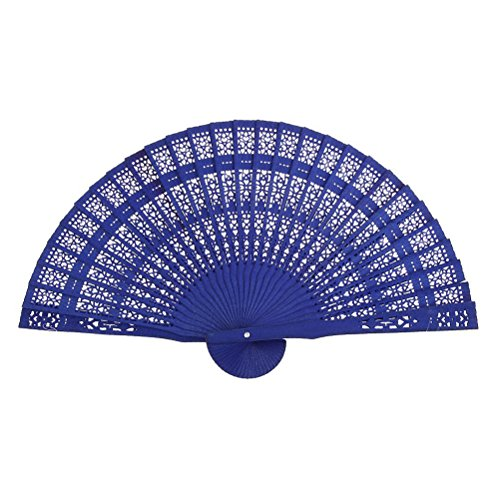 ULTNICE Chinese Folding Wood Panel Hand Fan with White Organza Bag (Blue) (Hand Fan Panel White Wood)