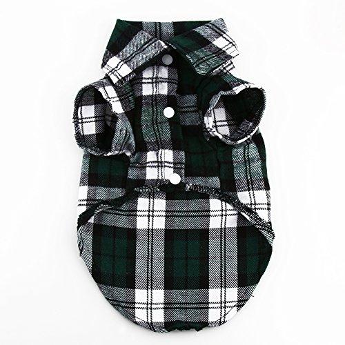 - Filfeel Pet T Shirt, New Small Dog Puppy Plaid Lapel Coat Cat Jacket Clothes Costume Green XS