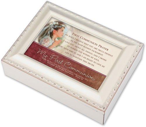 Cottage Garden First Communion Prayer Ivory Music Box/Jewelry Box Plays Ave Maria