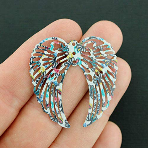 Great Selection 2 Filigree Angel Wings Charms Rainbow Enamel Stunning Floral Design - E627 Build Your Designs