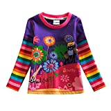 VIKITA 2017 Kid Girl Cotton Butterfly Lace Long Sleeve T Shirt Clothes 2-6 Years (7T, L328PURPLE)
