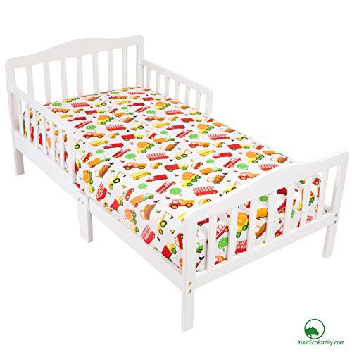 YourEcoFamily Cotton Fitted Crib Sheet - Certified Organic Cotton - Softest Mattress Sheet For Your Baby, Toddler Boy or Girl (Crib Sheet - Cars)