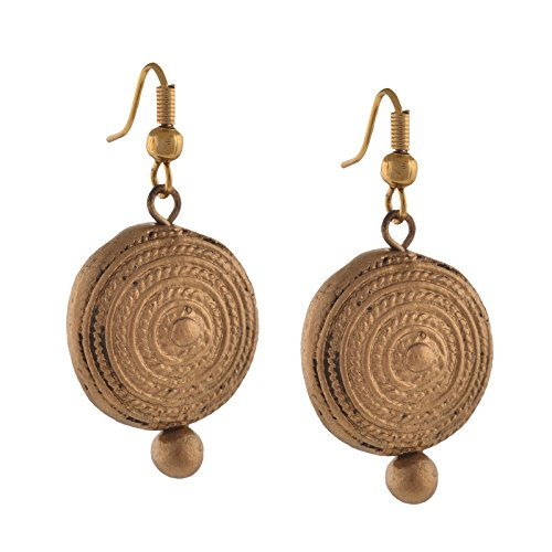 Zephyrr Fashion Handmade Painted Terracotta Round Hook Earrings Golden