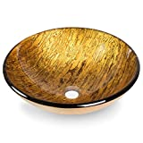 Miligoré Modern Glass Vessel Sink - Above Counter Bathroom Vanity Basin Bowl - Round Gold