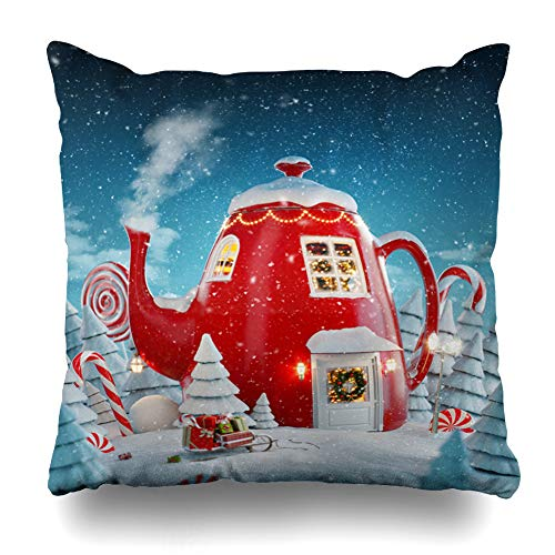 Teapot Merry Christmas - Ahawoso Throw Pillow Cover Happy Red Light Amazing Fairy House Decorated Christmas Miracle Shape Holidays Magic Teapot Tree Xmas Home Decor Zippered Pillowcase Square Size 18 x 18 Inches Cushion Case