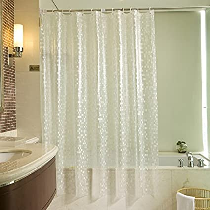 Ufelicity Extra Long 3D Mosaic Shower Curtain Clear With Metal Holes Odorless PVC Bathroom