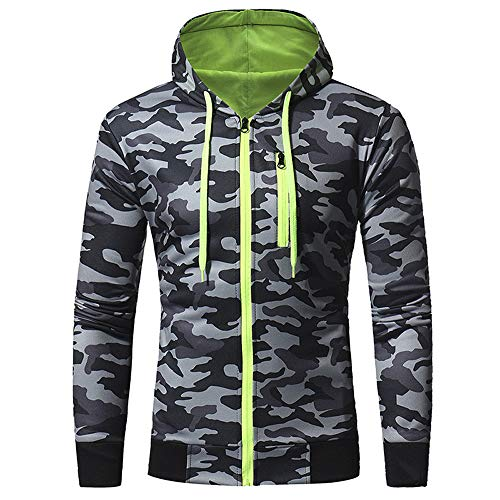 IEason Men Top Mens' Autumn Winter Long Sleeve Splicing Camouflage Hooded Sweatshirt Tracksuits (Cashmere Track Jacket)