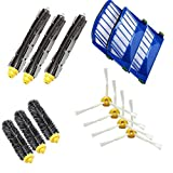 Bristle Brush & Flexible Beater Brush & Aero Vac Filter & 3-Armed Side Brush Pack Replacement Accessories, for iRobot Roomba 600 Series (620 630 650 660 680 770 780 790) Vacuum Cleaning Robots