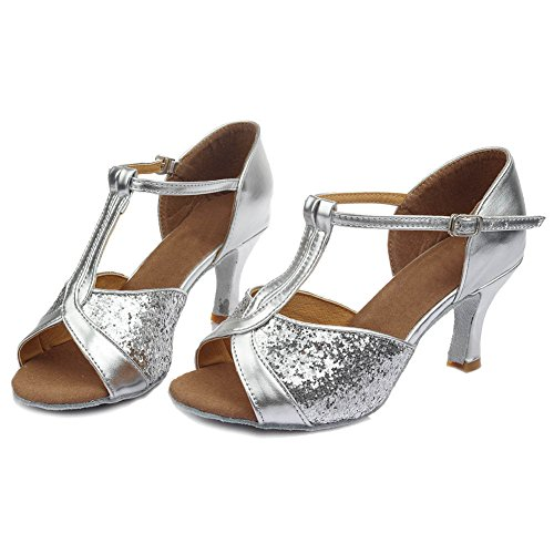 HIPPOSEUS Shoes Shoes heel Latin Women's Ballroom Satin Model 7cm UK259 Silver Dance qxBUqwHYr