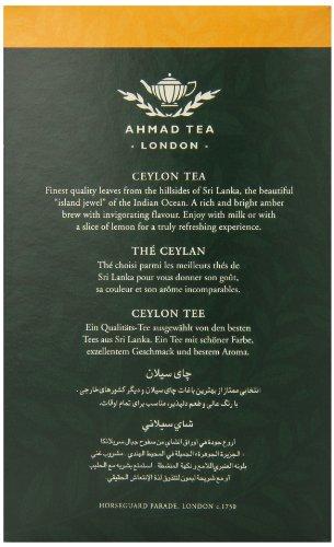 Ahmad Tea of London : Ceylon Tea (loose tea) 500ge/17.6 oz. 3 Beautiful golden color and memorable character Try serving Ahmad Ceylon black tea with milk or a slice of lemon Ahmad Tea is a member of the United Kingdom Tea Council