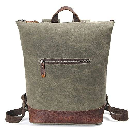 Vintage Backpack Bag Waterproof Fabric First Layer Of Leather Duffel Bag Men Women Thick Reinforced Backpacks Day, Green Khaki